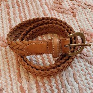 Brown Herringbone Braided Leather Belt Size 34